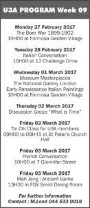U3A Weekly